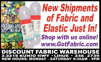 New Shipments of Fabric and Elastic Just In!